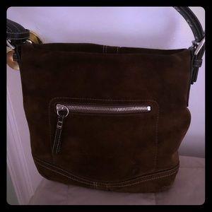 Coach brown suede shoulder bag